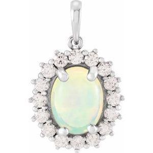14K White Ethiopian Opal & 1/2 CTW Diamond Pendant