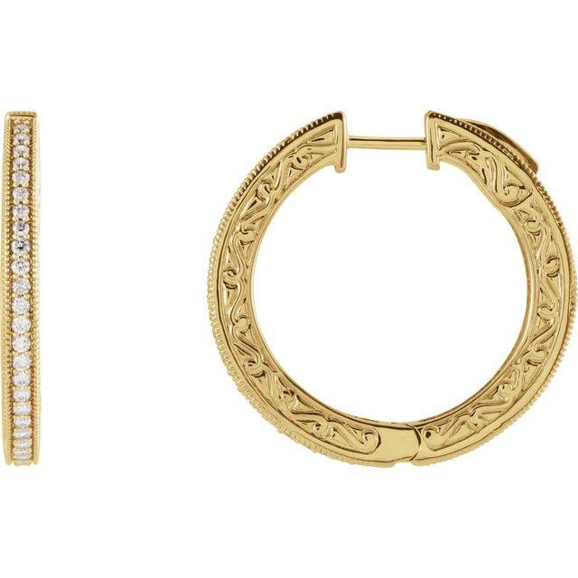 14K Yellow 1/2 CTW Natural Diamond Sculptural Hoop Earrings