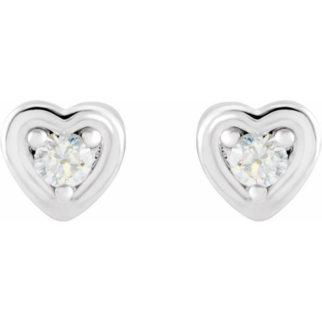 14K White .03 CTW Diamond Youth Heart Earrings