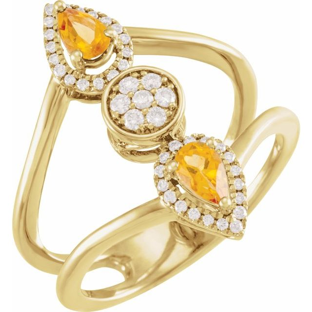 14K Yellow Citrine & 1/5 CTW Diamond Ring
