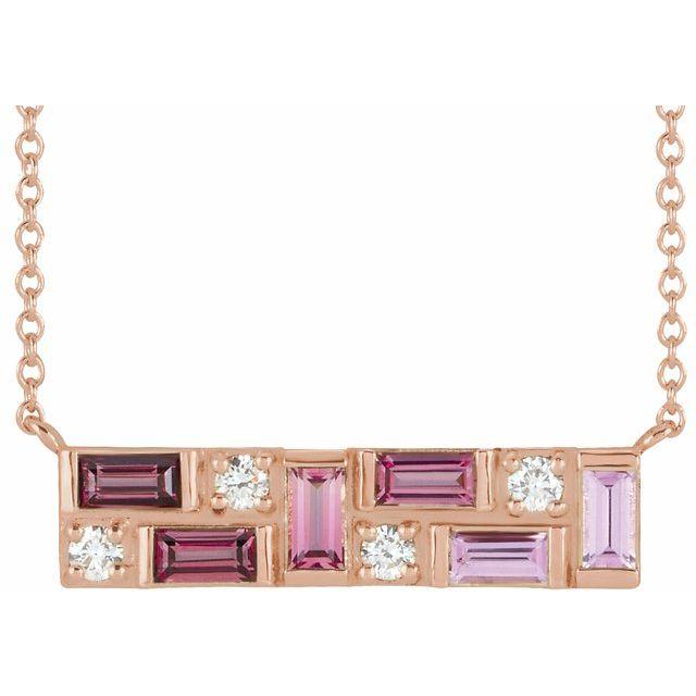 "14K Rose Pink Multi-Gemstone & 1/8 CTW Diamond Bar 18"" Necklace"