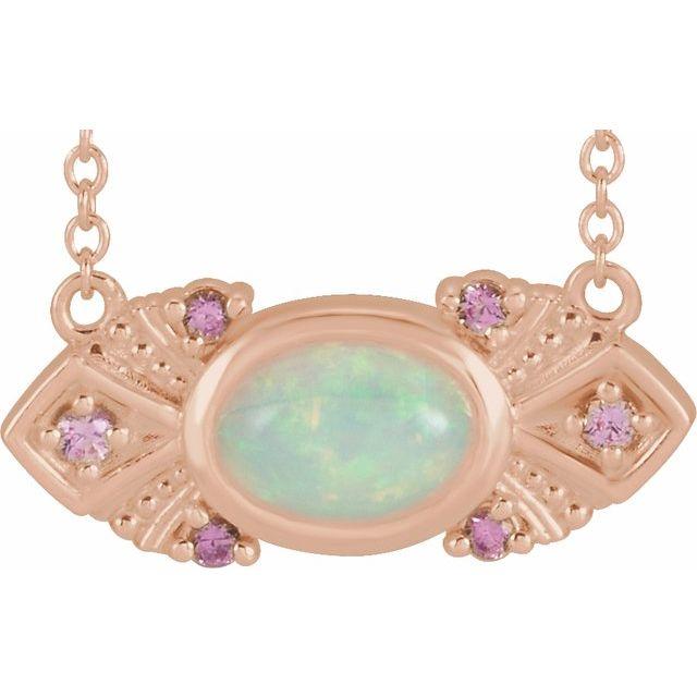 14K Rose Ethiopian Opal & Pink Sapphire Vintage-Inspired 18