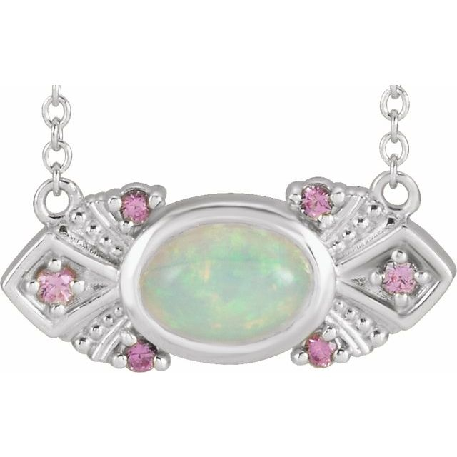 14K White Ethiopian Opal & Pink Sapphire Vintage-Inspired 16