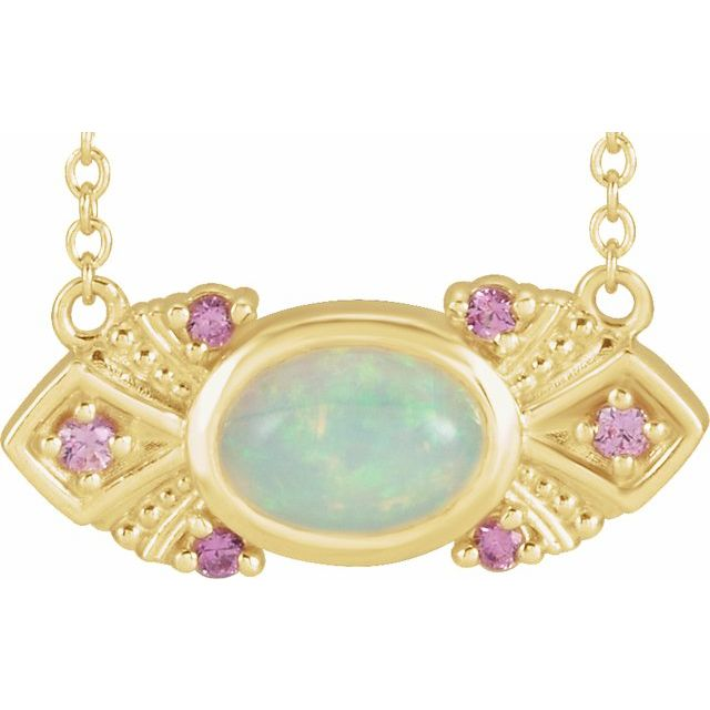 """14K Yellow Ethiopian Opal & Pink Sapphire Vintage-Inspired 18"""" Necklace"""