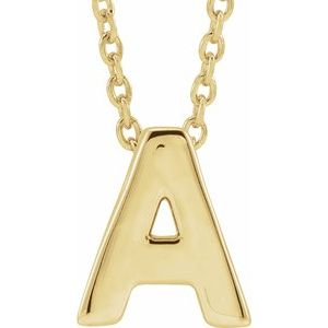 """14K Yellow Initial A Slide Pendant 16-18"""" Necklace"""