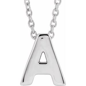 "14K White Initial A Slide Pendant 16-18"" Necklace"