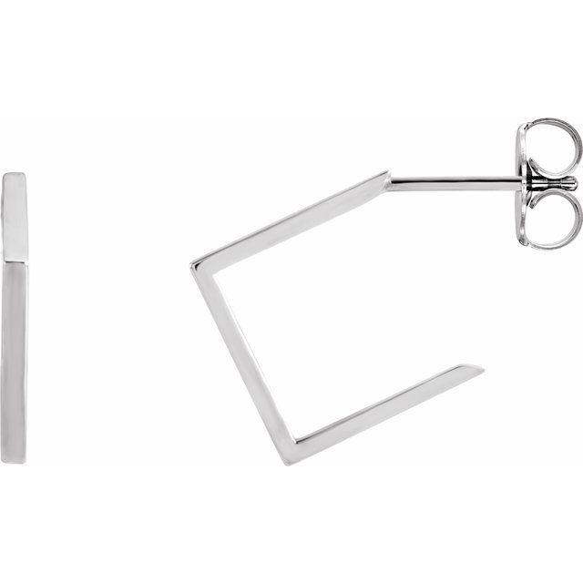 14K White 15.76 mm Geometric Hoop Earrings