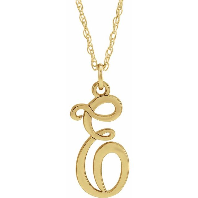 14K Yellow Gold-Plated Sterling Silver Script Initial E 16-18