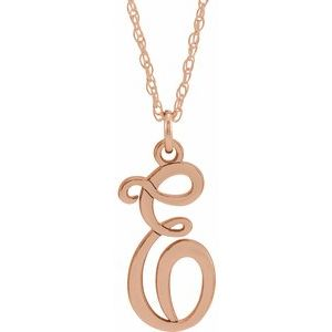 "14K Rose Gold-Plated Sterling Silver Script Initial E 16-18"" Necklace"