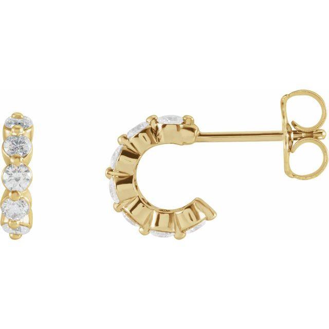 14K Yellow 3/8 CTW Diamond 9.25 mm Huggie Earrings