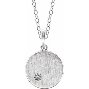 14K White .005 CT Diamond Engravable Necklace
