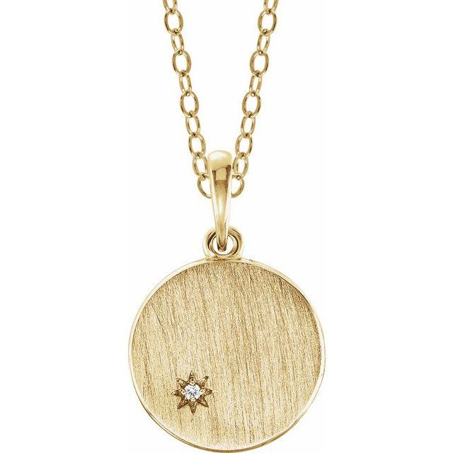 14K Yellow .005 CT Diamond Engravable Necklace
