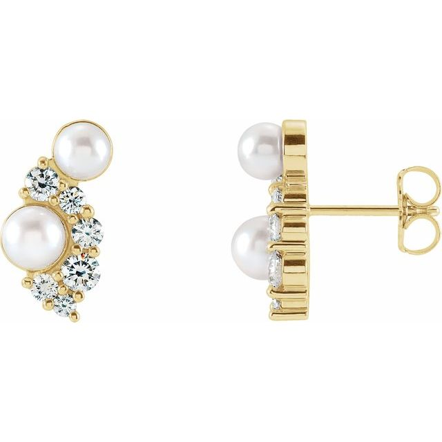 14K Yellow Akoya Cultured Pearls & 1/2 CTW Diamond Earrings