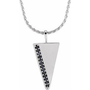 "14K White 1/5 CTW Black Diamond Triangle 24"" Necklace"