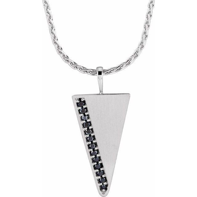 14K White 1/5 CTW Black Diamond Triangle 24