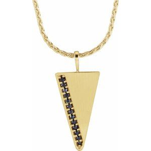 "14K Yellow 1/5 CTW Black Diamond Triangle 24"" Necklace"