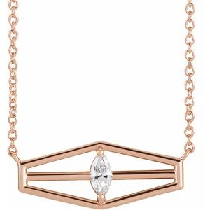 "14K Rose 1/6 CT Diamond Geometric 18"" Necklace"