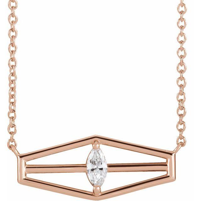 14K Rose 1/6 CT Diamond Geometric 18