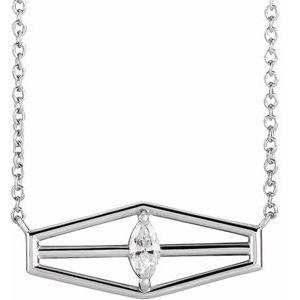 "14K White 1/6 CT Diamond Geometric 16"" Necklace"