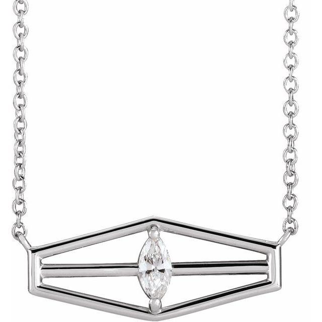 14K White 1/6 CT Diamond Geometric 18