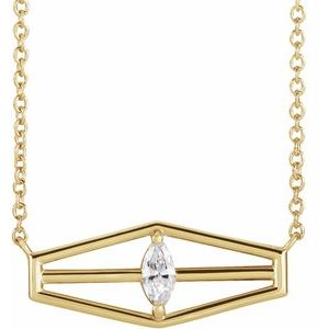 "14K Yellow 1/6 CT Diamond Geometric 18"" Necklace"