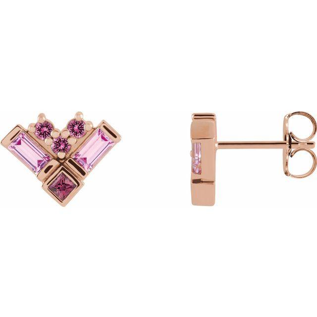 14K Rose Pink Multi-Gemstone Cluster Earrings