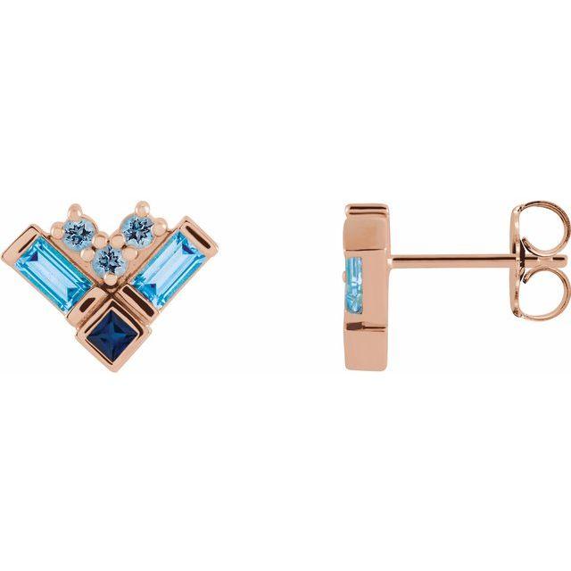 14K Rose Blue Multi-Gemstone Cluster Earrings