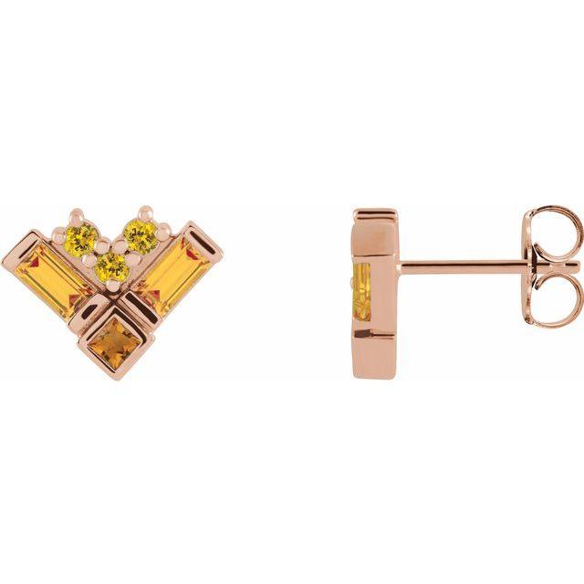 14K Rose Multi-Gemstone Cluster Earrings