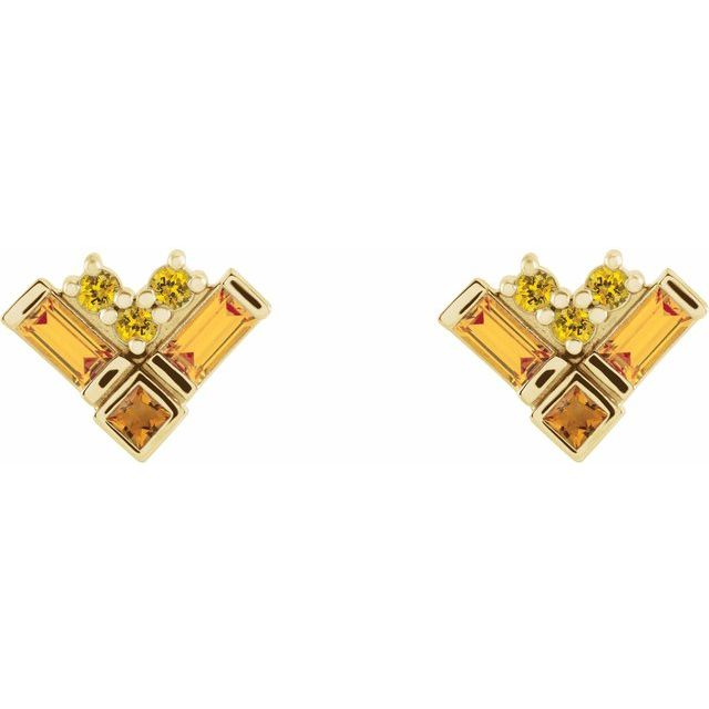 14K Yellow Multi-Gemstone Cluster Earrings