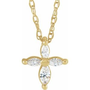 "14K Yellow 1/6 CTW Diamond Marquise Cross 18"" Necklace"