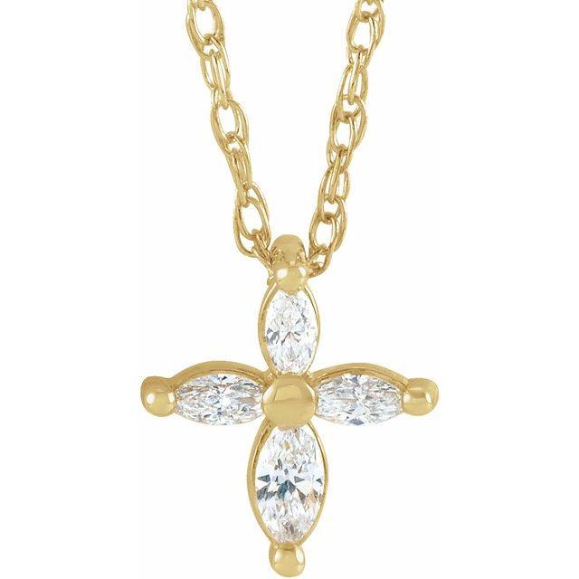 14K Yellow 1/6 CTW Diamond Marquise Cross 18
