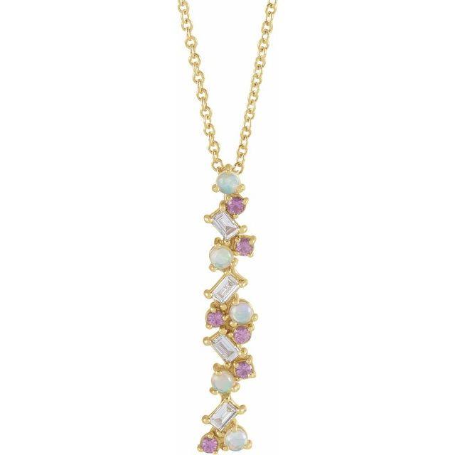 14K Yellow Ethiopian Opals, Pink Sapphires & 1/8 CTW Diamond Scattered Bar 16-18