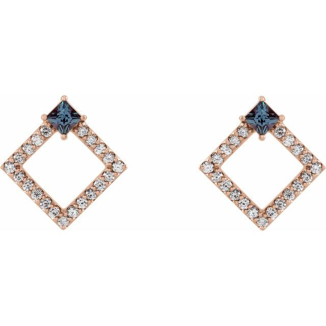 14K Rose Chatham® Lab-Created Alexandrite & 1/3 CTW Diamond Earrings