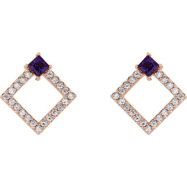 14K Rose Amethyst & 1/3 CTW Diamond Earrings