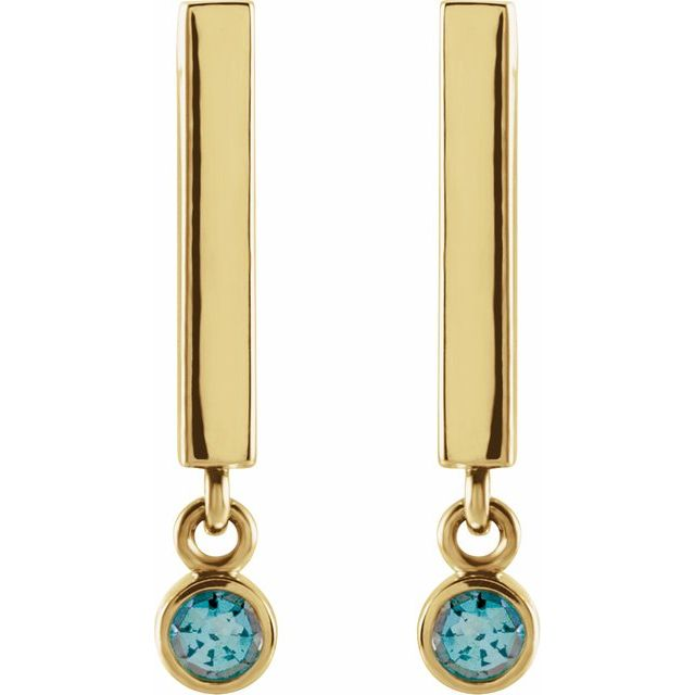 14K Yellow Aquamarine Bar Earrings