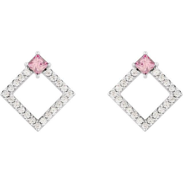 14K White Pink Tourmaline & 1/3 CTW Diamond Earrings