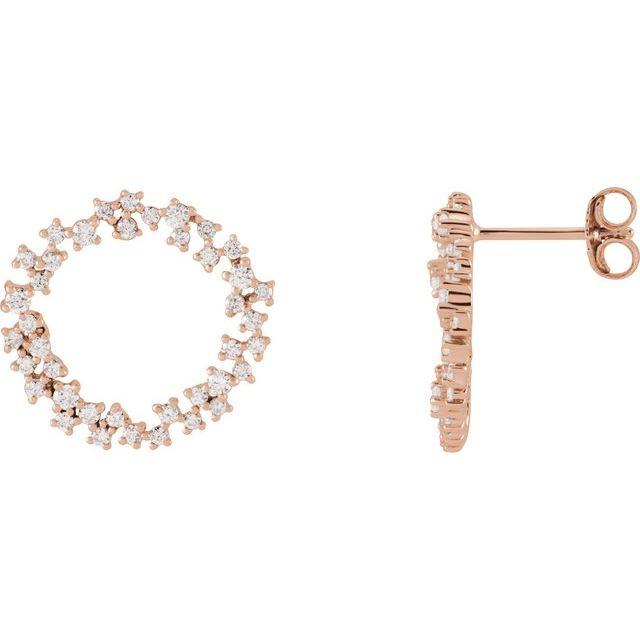 14K Rose 3/4 CTW Diamond Circle Earrings