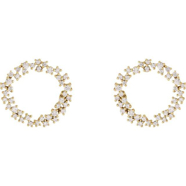 14K Yellow 3/4 CTW Diamond Circle Earrings