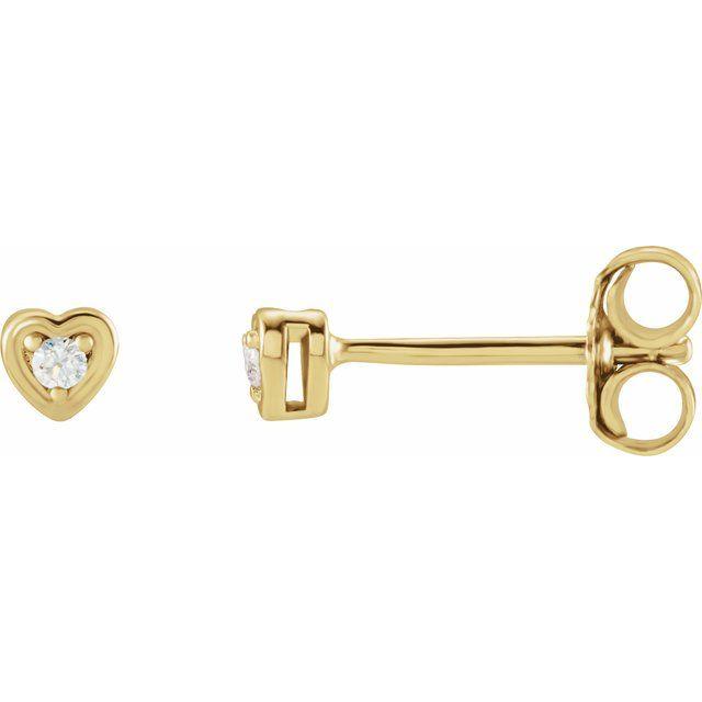 14K Yellow .03 CTW Diamond Youth Heart Earrings