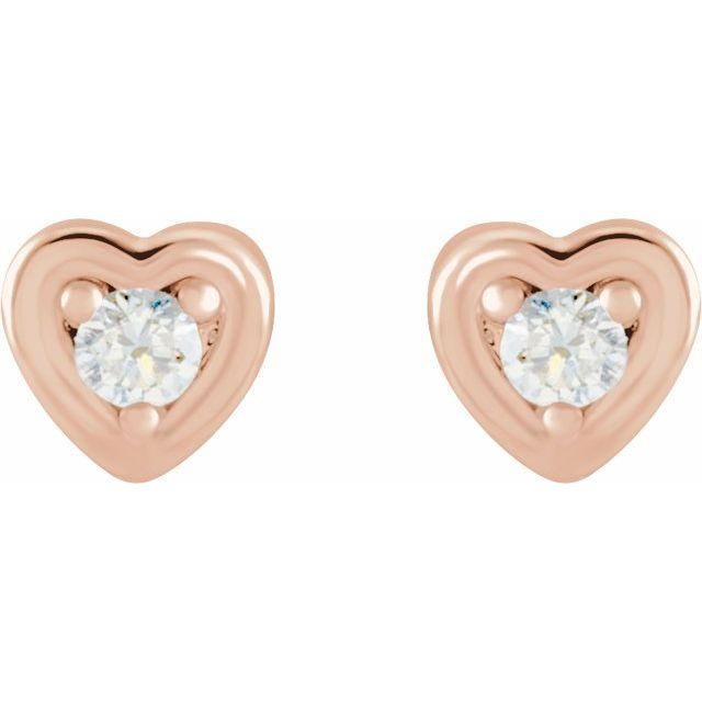 14K Rose .03 CTW Diamond Youth Heart Earrings
