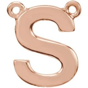 14K Rose Block Initial S Necklace Center
