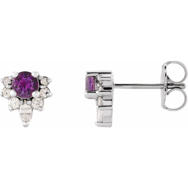 14K White Amethyst & 1/6 CTW Diamond Earrings