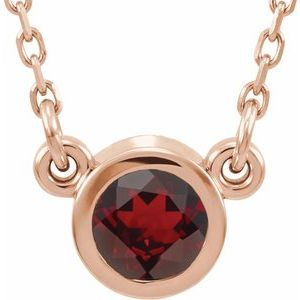"14K Rose 4 mm Round Mozambique Garnet Bezel-Set Solitaire 16"" Necklace"