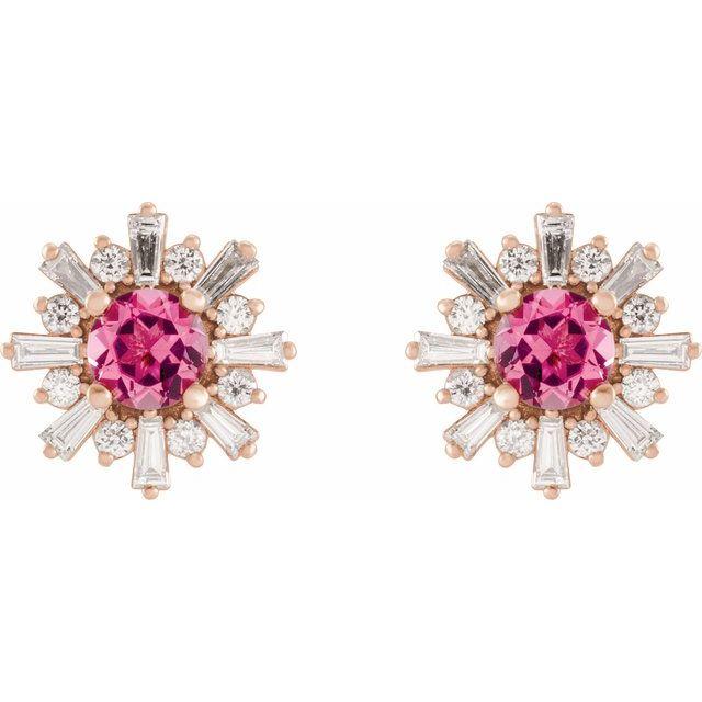14K Rose Pink Tourmaline & 3/4 CTW Diamond Earrings