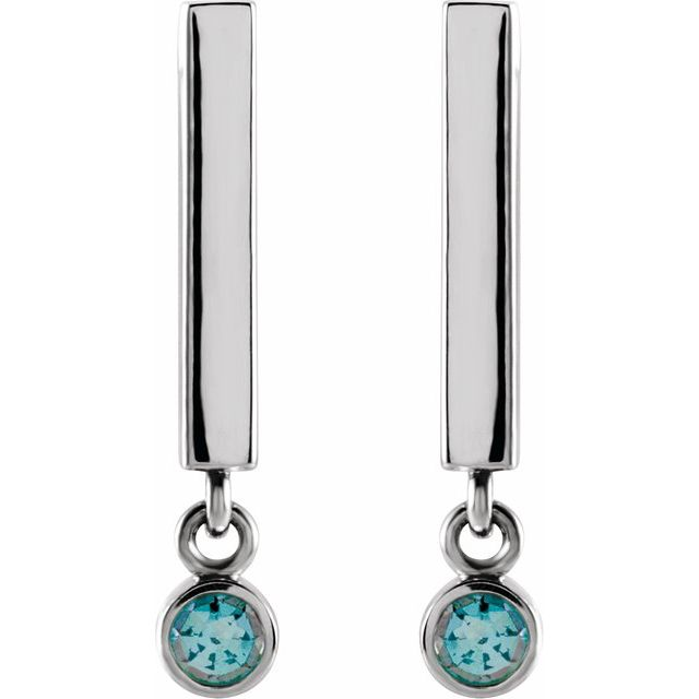 14K White Aquamarine Bar Earrings