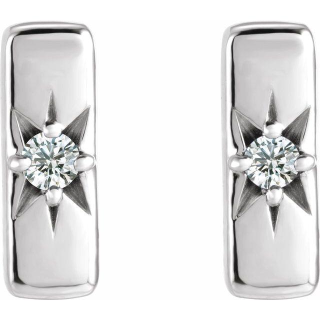 14K White .07 CTW Lab-Grown Diamond Starburst 10 mm Bar Earrings