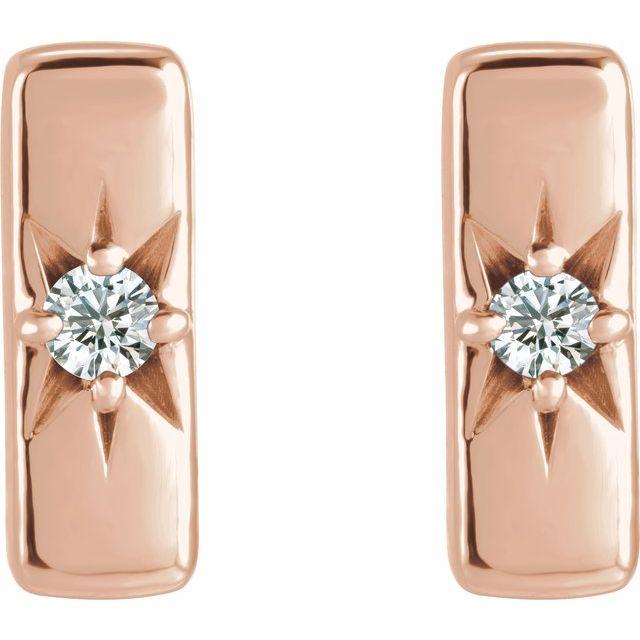 14K Rose White Sapphire Starburst Bar Earrings