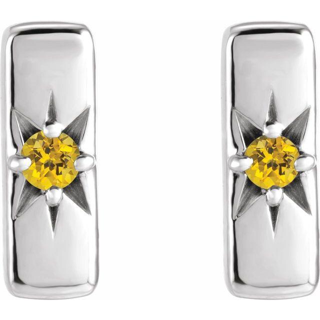 14K White Yellow Sapphire Starburst Bar Earrings