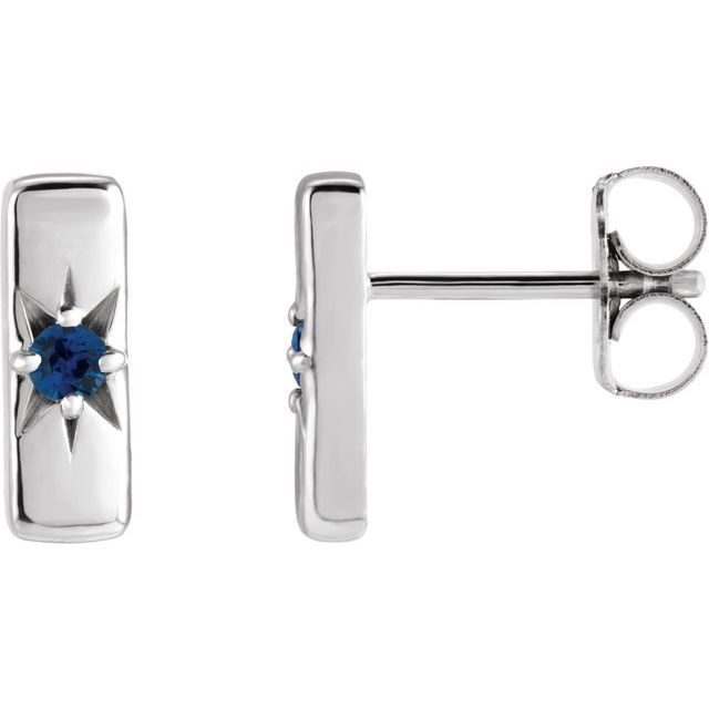 14K White Blue Sapphire Starburst Bar Earrings