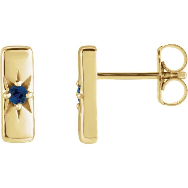 14K Yellow Blue Sapphire Starburst Bar Earrings